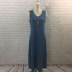 Jersey Knit Cornflower Blue Sleeveless Maxi Dress